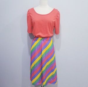 Vintage 80's retro colorful stripe dress